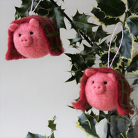 Pigs in Blankets handmade christmas tree bauble decorations