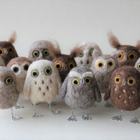 Hootie Hoos - MADE TO ORDER needle felted owls  by Mish Mash Mosh