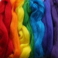 Letterbox wool pack in bright rainbow colours (7 x 5g hanks of merino wool tops)