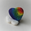 Felted rainbow heart with cloud stand