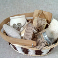 Handmade Natural Goats Milk Soap Gift Basket With Epsom Salt And Beeswax Lip Bal