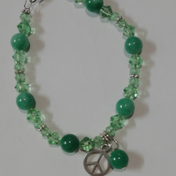 Emerald and green beaded peace bracelet