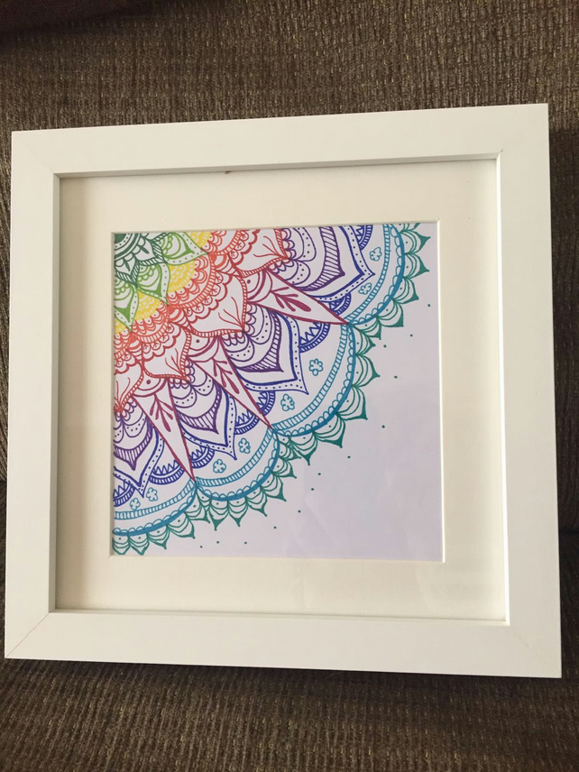 Framed hand drawn mandala