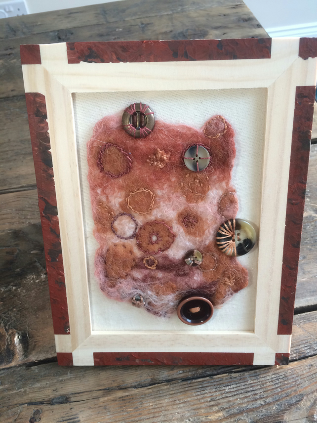 Wet Felted Circles, Browns, Rusts, Creams and Buttons