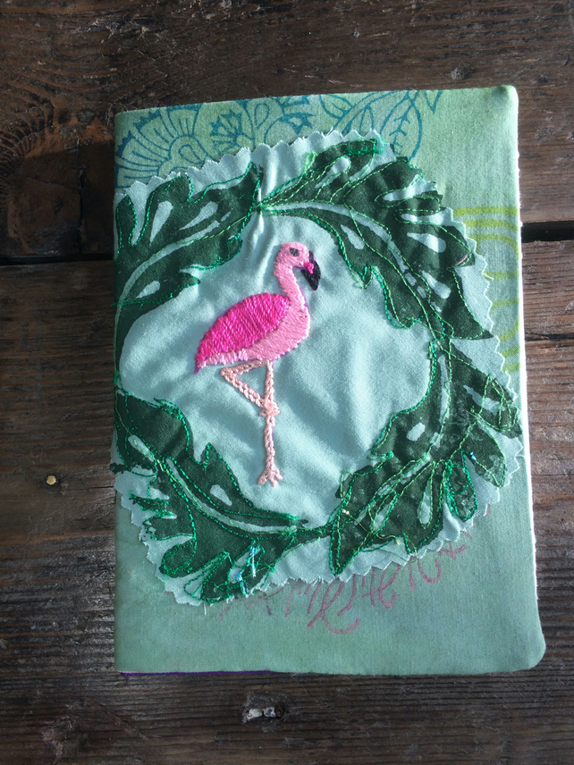 Flamingo to the right - Hand embroidered A6 Book cover