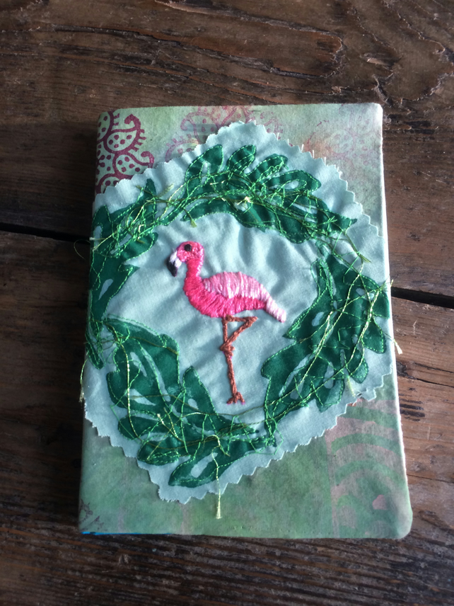 Flamingo to the left - Hand embroidered A6 Book cover