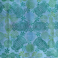 Owls: Hand dyed and Indian Block Printed Cotton mix - Fat Quarter