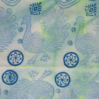 Peacock: Hand dyed and Indian Block Printed Cotton mix - Fat Quarter