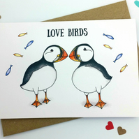 Love Birds - Puffin Design Handmade Wedding, Anniversary or Engagement Card