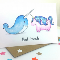 Best Friends - Unicorn and Narwhal Best Friends Birthday Card