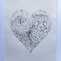 ORIGINAL ballpoint portrait of a cheetah pair in a heart shape