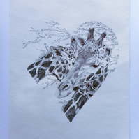 ORIGINAL ballpoint portrait of a giraffe pair in heart shape