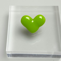 Fused Glass Heart Pin Badge Green