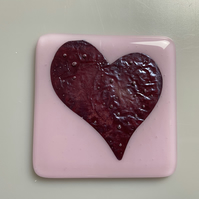 Fused Glass Coaster - Red Heart