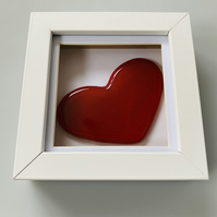 Fused Glass Heart in a Box - Red