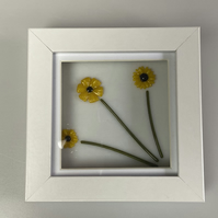 Fused Glass Sunflowers in a Box Frame