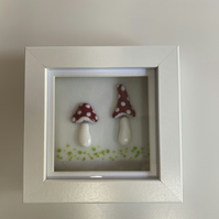 Fused Glass Toadstool Picture in a Box Frame