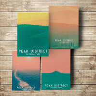 Peak District Postcards - Set of 4 Original Designs Mountains Hills - A6 Size