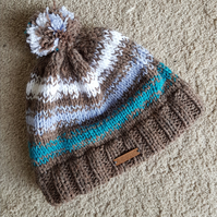 Brown teal knitted bobble hat