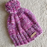 Pink purple knitted bobble hat