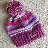 Purple and mixed yarn knitted bobble hat