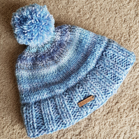 Blue knitted bobble hat