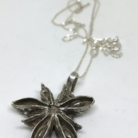 Sterling Silver Star Anise Pendant on Sterling Silver Chain