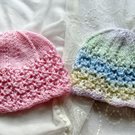 Hand knitted Lace Patterned Beanie Hats for Newborn Babies, 0-3 months, FREE P&P