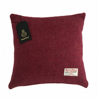 "Harris Tweed 16"" Cushion Cover Double Sided - Crimson Red 16"" x 16"""