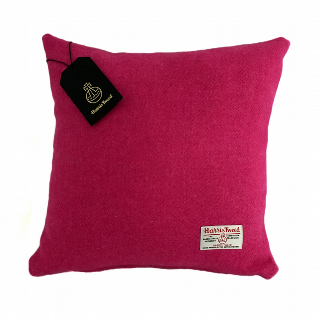 "Harris Tweed 18"" Cushion Cover Double Sided - Bright Pink 18"" x 18"""