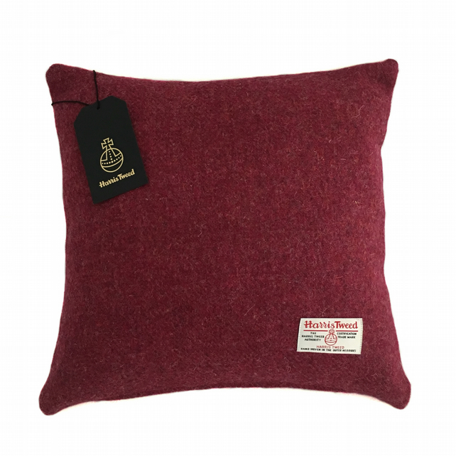 "Harris Tweed 18"" Cushion Cover Double Sided - Crimson Red 18"" x 18"""