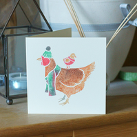Pack of 10 PET CHICKEN Christmas cards by Yorkshire artist Jess Chappell