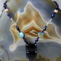 Blue Goldstone Necklace, Sterling Silver Gemstone Necklace MS518
