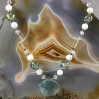 Unique Gemstone Necklace, Aqua Quartz & Sterling Silver Gemstone Necklace MS517