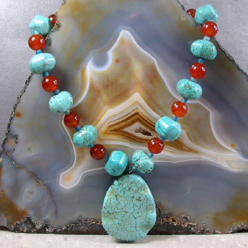 Turquoise Necklace, Turquoise Semi-Precious Pendant Necklace MS509