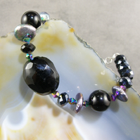 Crystal, Pearl, Semi-Precious Gemstone Bracelet, Unique Bracelet MS59