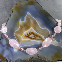 Rose Quartz Necklace, Pink Semi-Precious Stone Necklace, MS522