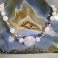 Rose Quartz Necklace, Pink Necklace, Semi-Precious  Necklace MS523
