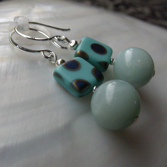 Amazonite Earrings Sterling Silver Hooks 2