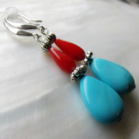 Turquoise Coral earrings, gemstone earrings 3