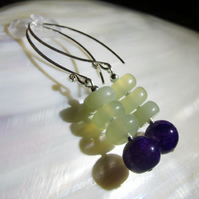 Jade earrings, green & purple gemstone earrings 1