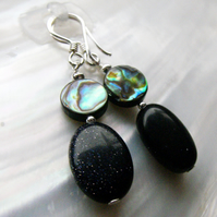 Goldstone Paua Shell Earrings, Gemstone Earrings 7