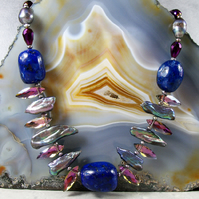Semi-Precious Lapis Lazuli Necklace, Unique Necklace Design MS506