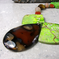 Agate, Jasper Pendant Necklace, Unique Semi-Precious Necklace MS501