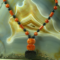 Coral & Blue Goldstone Pendant Necklace, Unique Semi-Precious Necklace Design MS