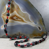 Long Semi-Precious Stone Necklace, Unique Long Snowflake Obsidian Necklace MS496