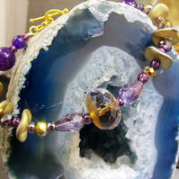 Unique Crystal Bracelet, Purple Semi-Precious Gemstone Bracelet MS65