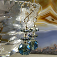 Blue Earrings, Handmade Blue Crystal Earring Design MS509