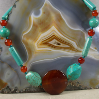 Long Semi-Precious Stone Necklace, Turquoise Necklace, Carnelian Necklace MS526