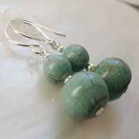 Dangle Gemstone Earrings, Turquoise Earrings, Semi-Precious Stone Earrings F13